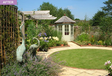 Rebecca webb garden designs for Garden designs with summer houses